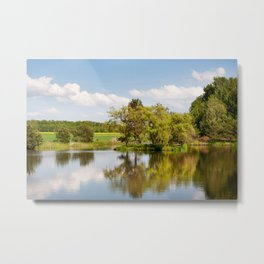 Lake and trees rural landscape Metal Print