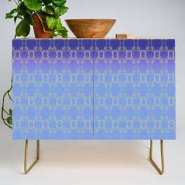 Hand drawn Seed Pods golden yellow blues Credenza