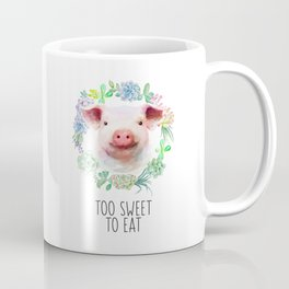Too Sweet to Eat Vegan Statement Pig Watercolor Coffee Mug