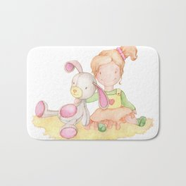 Baby girl and her bunny Bath Mat