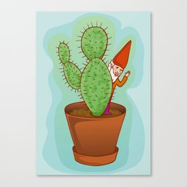 fairytale dwarf with cactus Canvas Print