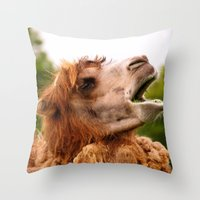 camel Throw Pillows featuring Camel by GardenGnomePhotography