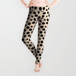 Irregular Small Polka Dots black Leggings