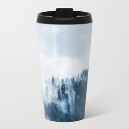 CLOUDS - WHITE - FOG - TREES - FOREST - LANDSCAPE - NATURE - TIMBER - WOODS - PHOTOGRAPHY Travel Mug
