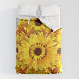 YELLOW SUNFLOWER  CLUSTER WHITE GARDEN ART Comforters