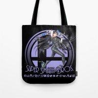 smash bros Tote Bags featuring Bayonetta - Super Smash Bros. by Donkey Inferno