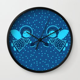 Angels on the deep blue Wall Clock