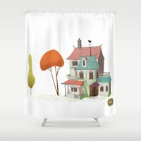 haunted mansion Shower Curtains featuring Mansion by David Pavon