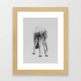 Wolf In The Woods (black & white version) Framed Art Print