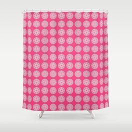 Mandala Pattern in Fuchsia Pink, Grey and White Shower Curtain