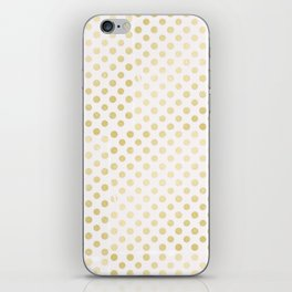 Vintage rustic faux gold white elegant polka dots pattern iPhone Skin