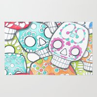 sugar skulls Area & Throw Rugs featuring skulls sugar by wet yeti