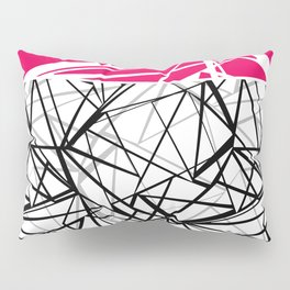 Black and white abstract geometric pattern with red inlay . Pillow Sham