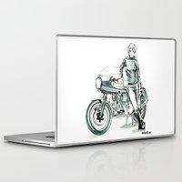 moto Laptop & iPad Skins featuring Retro Moto Girls - 750SS by Hooligan Designs