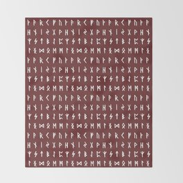 Nordic Runes // Monarch Red Throw Blanket