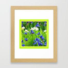 WHITE-BLUE IRIS & CHARTREUSE FERNS GARDEN Framed Art Print
