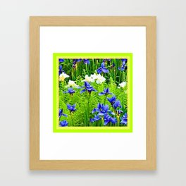 WHITE-BLUE IRIS & CHARTREUSE FERNS GARDEN Framed Art Print