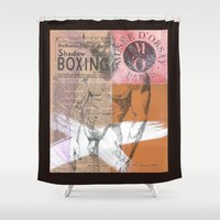 boxing Shower Curtains featuring Shadow Boxing by Azure Cricket