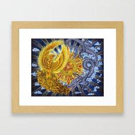 Chinese Phoenix and Dragon Mandala Framed Art Print