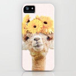 Alpaca Flowers iPhone Case