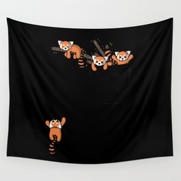 Pocket Red Panda Bears Wall Tapestry