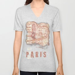 From Paris With Love In Salmon-Rosé Unisex V-Neck