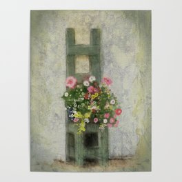Chair full of Flowers Poster