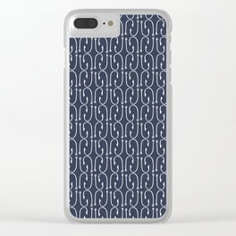 Fish Hooks in Navy Blue Clear iPhone Case