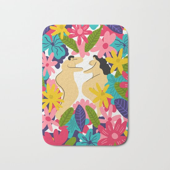 Couple Flowes Bath Mat