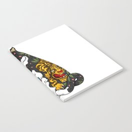 Cat eating Chinese Noodles with Tiger Tattoo Notebook