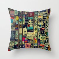 sticker Throw Pillows featuring sticker by gzm_guvenc