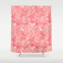 Cute watercolor pink hearts pattern Shower Curtain
