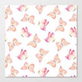 Hand painted pink coral watercolor pretty butterflies Canvas Print