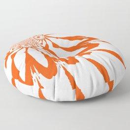 The Modern Flower White & Orange Floor Pillow
