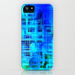Vibrant Blue and Turquoise Line Abstract iPhone Case
