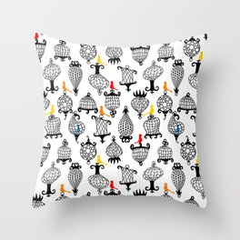 Birds and Crazy Cages Throw Pillow