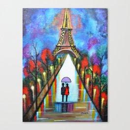 Love In Paris Romantic Painting Valentine Giftart Canvas Print