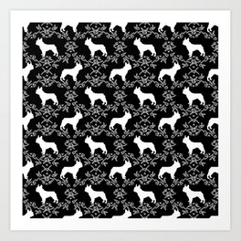French Bulldog floral minimal black and white pet silhouette frenchie pattern Art Print