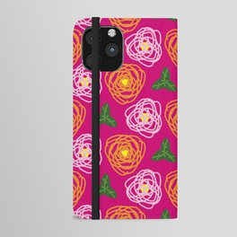 Bright pink floral iPhone Wallet Case
