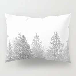 Snow Day // Black and White Winter Landscape Photography Snowing Whiteout Blizzard Pillow Sham