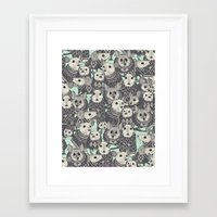 sweater Framed Art Prints featuring sweater mice mint by Sharon Turner