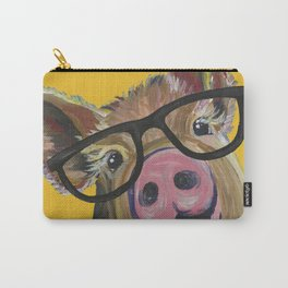 Pig with Glasses Art, Farm Animal, Cute Pig Art Carry-All Pouch