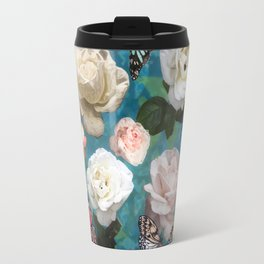 White Roses and Butterflies Travel Mug