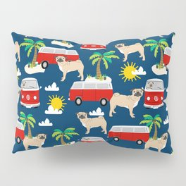 Pug Life beach day vacation sunshine surfing must have dog gift pet portrait fun in the sun sport Pillow Sham