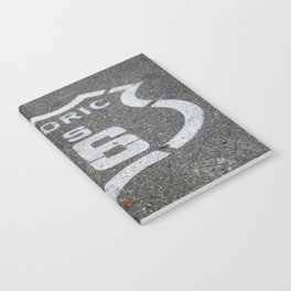 Route 66 sign on the road Notebook