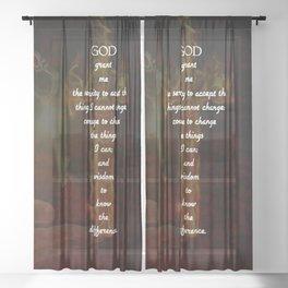 Serenity Prayer Inspirational Quote With Beautiful Christian Art Sheer Curtain