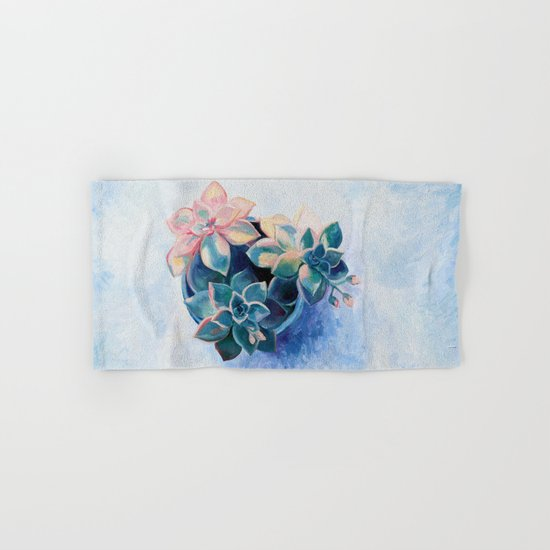 Pastel Succulents - an oil painting on canvas Hand & Bath Towel