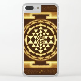 Sri Yantra XVII - Golden Moon White Clear iPhone Case