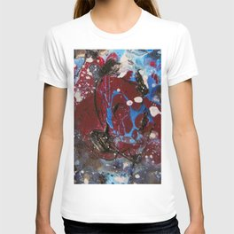 red explosion abstract paint T-shirt