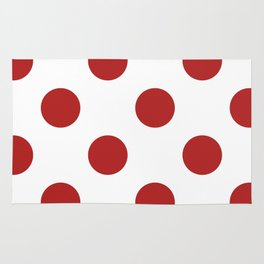 Large Polka Dots - Firebrick Red on White Rug